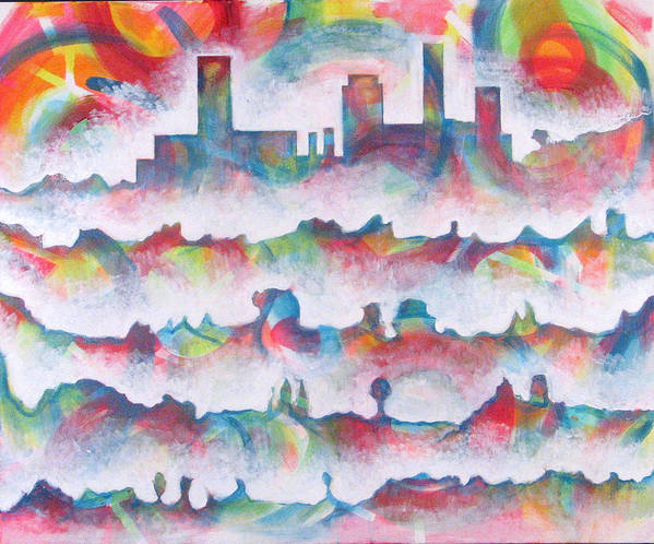 Cityscape Art Print featuring the painting Skyline by Rollin Kocsis