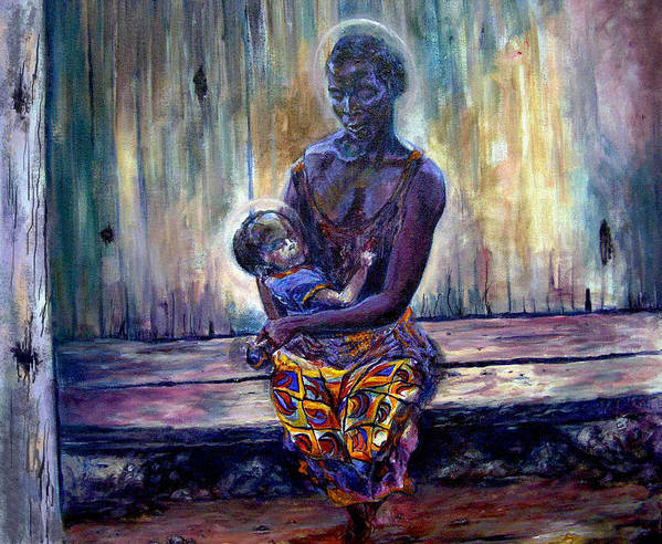 Baby Painting Art Print featuring the painting Solemn Momemts by Tommy Winn