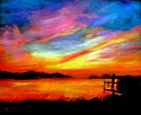 Sunset Art Print featuring the painting Southern Sunset by Gail Kirtz