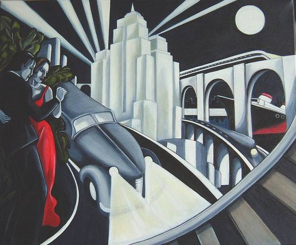 Art Deco Art Print featuring the painting Speed by Rosie Harper