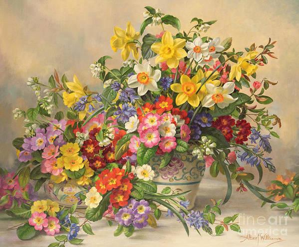 Primula; Daffodil; Primula; Narcissi; Spring Flowers; Flower; Flowers; Pool Pottery Art Print featuring the painting Spring Flowers And Poole Pottery by Albert Williams