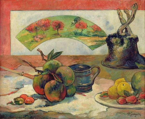 Still Life With A Fan Art Print featuring the painting Still Life With A Fan by Paul Gauguin