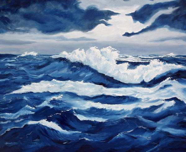 Sea Scapes Art Print featuring the painting Storm At Sea by Lorraine Foster