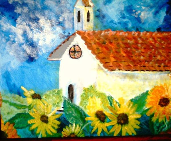 Church Art Print featuring the painting Sun Flowers Dance At San Marin by J Bauer