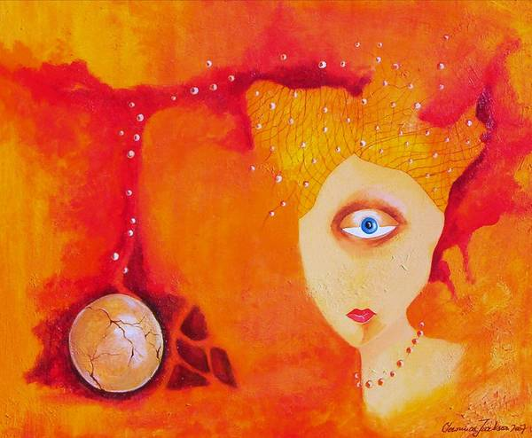 Tangerine Orange Eyes Woman Pearls Thoughts Life Egg Art Print featuring the painting Tangerine Dream by Veronica Jackson