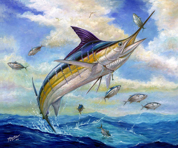 Blue Marlin Art Print featuring the painting The Blue Marlin Leaping To Eat by Terry Fox