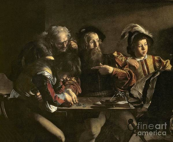 Chiaroscuro; Baroque; Interior; Table; Tax Collector; Saint; Apostle; Disciple; Pointing Art Print featuring the painting The Calling Of St. Matthew by Michelangelo Merisi da Caravaggio
