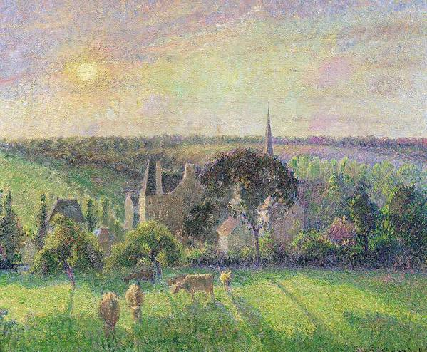 The Art Print featuring the painting The Church And Farm Of Eragny by Camille Pissarro