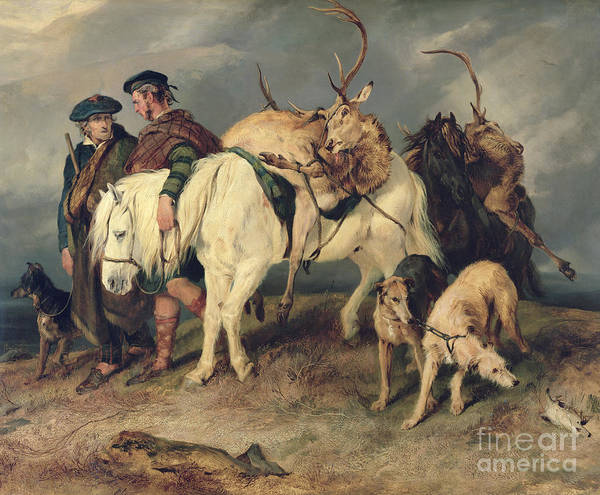 The Art Print featuring the painting The Deerstalkers Return by Sir Edwin Landseer