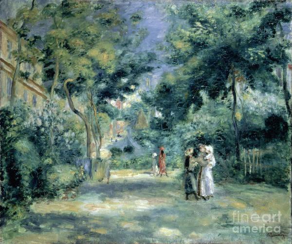 The Gardens In Montmartre Art Print featuring the painting The Gardens In Montmartre by Pierre Auguste Renoir