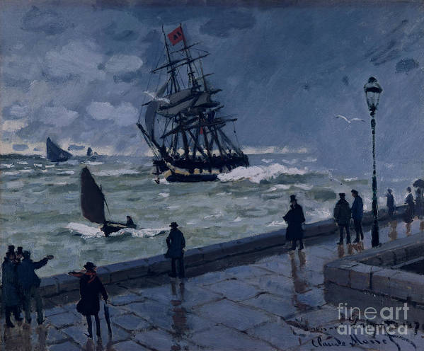 The Jetty At Le Havre Art Print featuring the painting The Jetty At Le Havre In Bad Weather by Claude Monet