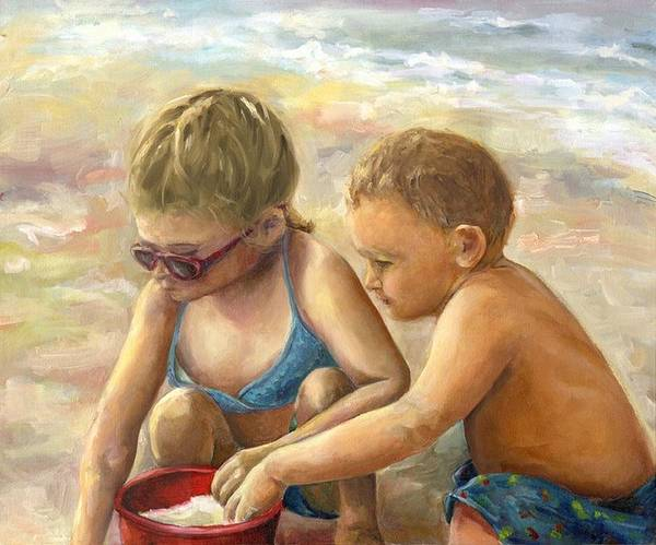 Portrait Art Print featuring the painting The Red Sand Bucket by Linda Vespasian