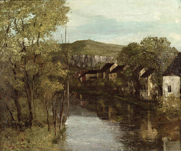 The Art Print featuring the painting The Reflection Of Ornans by Gustave Courbet
