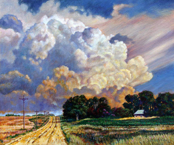 Landscape Art Print featuring the painting The Road Home by John Lautermilch