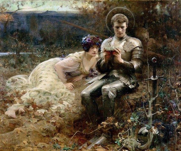 The Temptation Of Sir Percival Print featuring the painting The Temptation Of Sir Percival by Arthur Hacker
