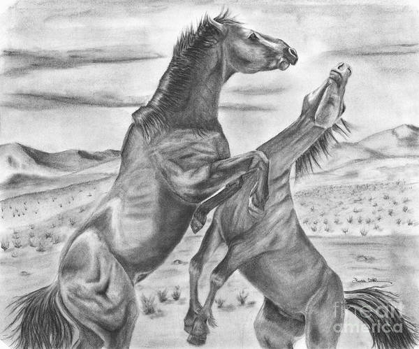 Horse Art Print featuring the drawing The Wild West Mustangs by Russ Smith