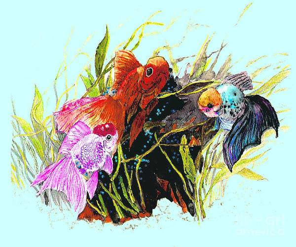 Fish Art Print featuring the photograph Three Fish - Chinese Watercolor Painting by Merton Allen