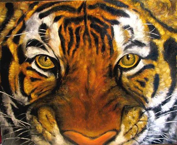 Tiger Art Print featuring the painting Tiger Mask Original Oil Painting by Natalja Picugina