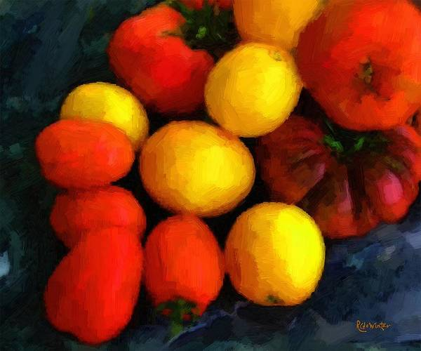 Tomatoes Art Print featuring the painting Tomatoes Matisse by RC DeWinter