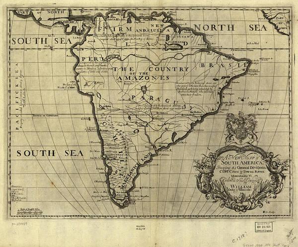 Vintage Map of South America - 1700 by CartographyAssociates
