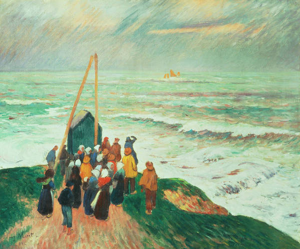 Waiting Art Print featuring the painting Waiting For The Return Of The Fishermen In Brittany by Henry Moret