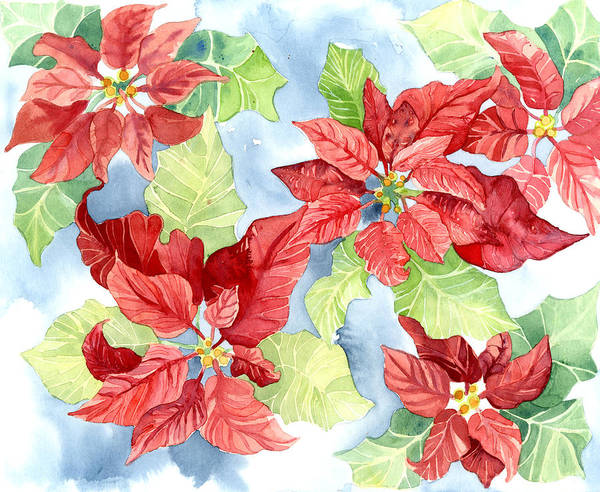 Watercolor Poinsettias Christmas Decor Art Print By Audrey