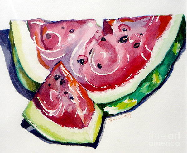 Still Life Art Print featuring the painting Watermelon by Jan Bennicoff