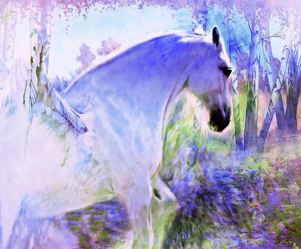 Pegasus Art Print featuring the mixed media White Pegasus by KaFra Art