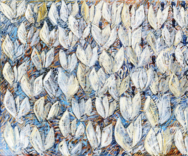 Abstract White Tulips Waving Sails Composition Blue Art Print featuring the painting White Tulips by Joan De Bot