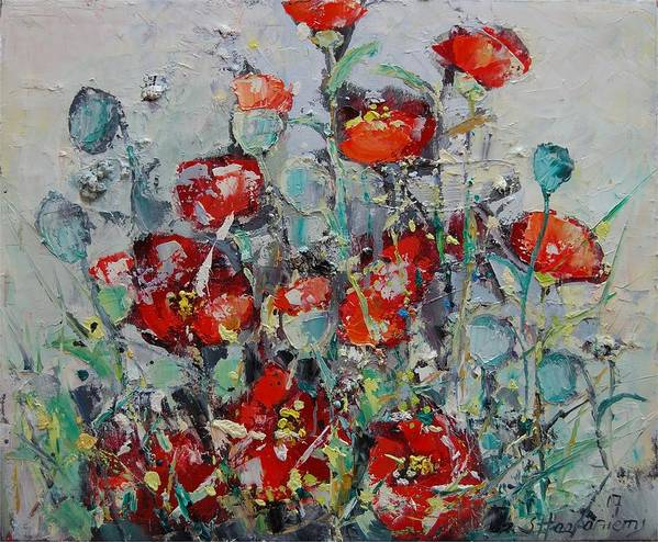 Flowers Art Print featuring the painting Wild Poppies by Sari Haapaniemi