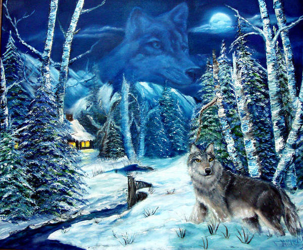 Wolf Art Print featuring the painting Winters Night 2 by Darlene Green