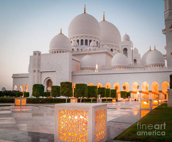 Allah Art Print featuring the photograph Abu Dhabi Sheikh Zayed White Mosque. Uae 1 by Tatyana Vyc