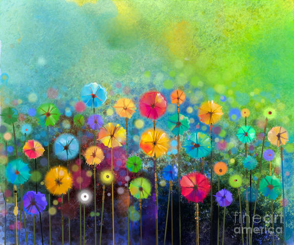 Beauty Art Print featuring the digital art Abstract Floral Watercolor Painting by Pluie r
