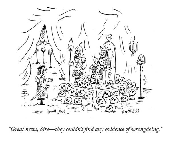 Great News Art Print featuring the drawing No Evidence Of Wrongdoing by David Sipress
