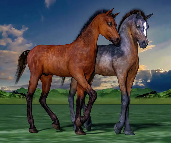 Foals Art Print featuring the digital art Young Spirits by Betsy Knapp