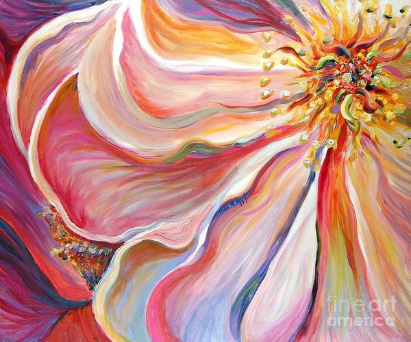 Pink Poppy Art Print featuring the painting Pink Poppy by Nadine Rippelmeyer