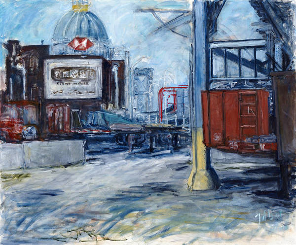Cityscape Industrial New York Art Print featuring the painting Williamsburg1 by Joan De Bot