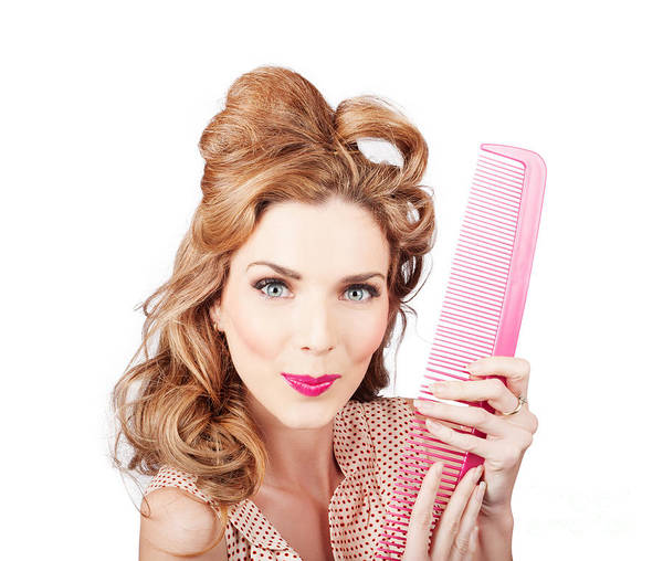 Amused Art Print featuring the photograph Cute Retro Female Hairdresser With Big Hair Comb 1 by Jorgo Photography - Wall Art Gallery
