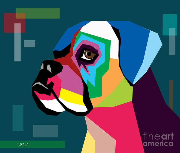 Dog Art Print featuring the digital art Boxer by Mark Ashkenazi