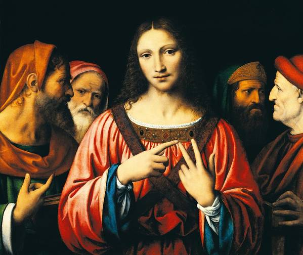 Jesus Christ; Doctors; Elders; Male; Men; Man; Renaissance; Disputation; Discussion; Debate; Group; Youth; Religion; Christianity Art Print featuring the painting Christ Among The Doctors by Bernardino Luini