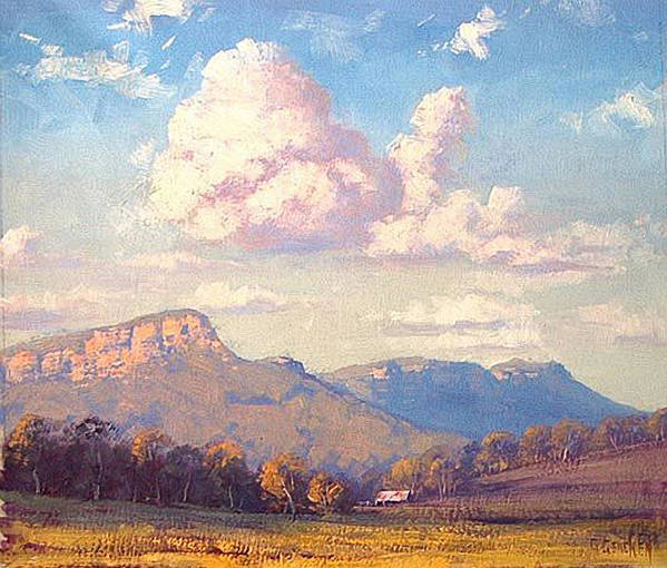 Rural Art Print featuring the painting Clouds Over Megalong by Graham Gercken