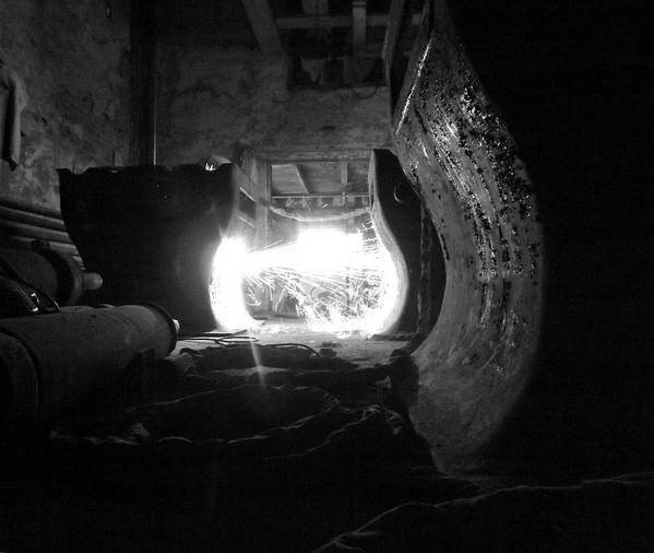 Fire Art Print featuring the photograph Fire In The Hole Bw by Elizabeth Sullivan