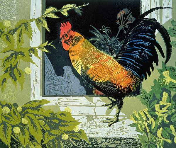 Birds; Window Sill Art Print featuring the painting Gamecock And Hen by Carol Walklin