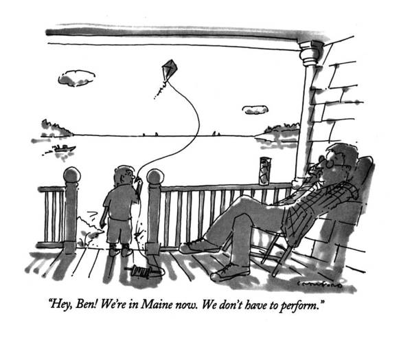 (father Talking To Child Flying Kite) Vacations Art Print featuring the drawing Hey, Ben! We're In Maine Now. We Don't by Michael Crawford
