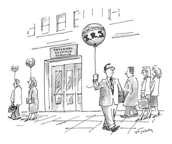 Taxes Art Print featuring the drawing New Yorker April 20th, 1998 by Mike Twohy