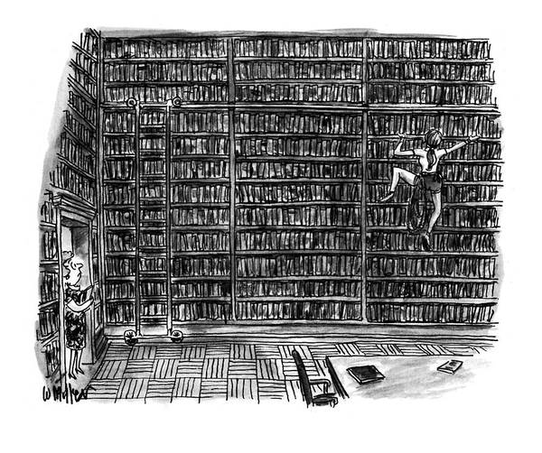 (a Librarian Watches As A Young Woman Climbs The Shelves Of The Library Without Using A Ladder.) (huge Library Room Art Print featuring the drawing New Yorker October 10th, 1994 by Warren Miller
