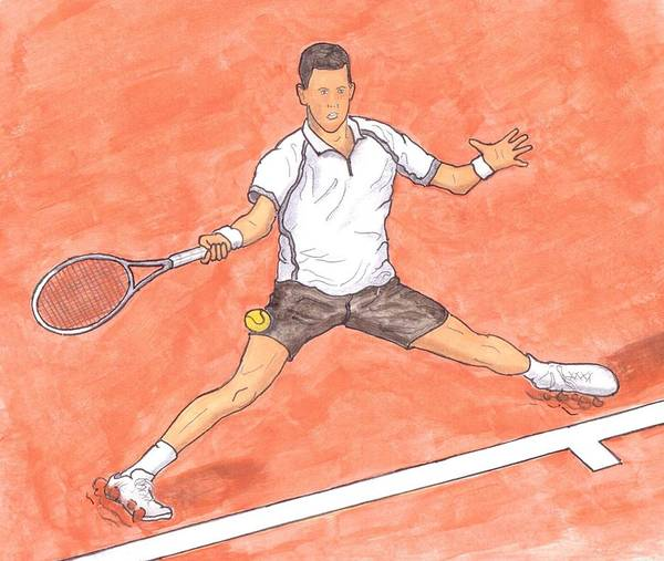 Novak Djokovic Art Print featuring the painting Novak Djokovic Sliding On Clay by Steven White