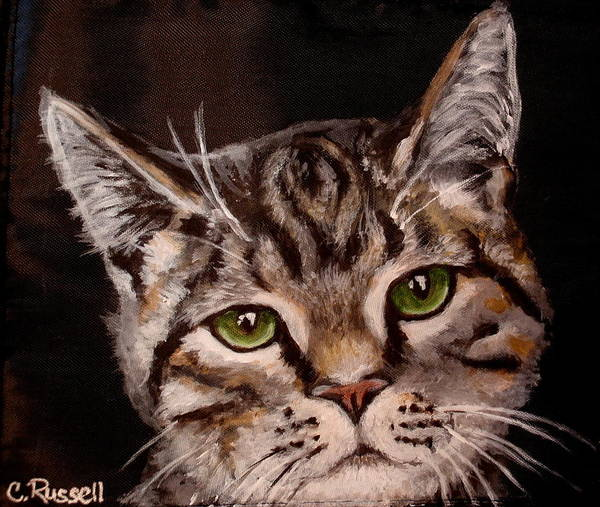Brown Tiger Cat Art Print featuring the painting O'malley by Carol Russell
