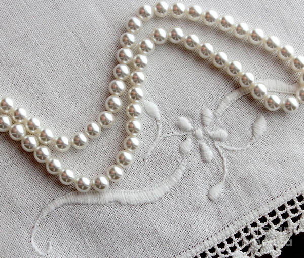 Pearls And Old Linen Art Print featuring the photograph Pearls And Old Linen by Barbara Griffin