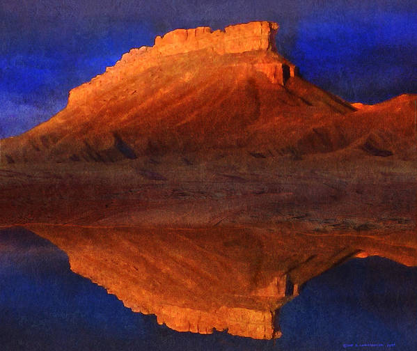 Arizona Art Print featuring the painting Reflections Of Miner Butte by R christopher Vest